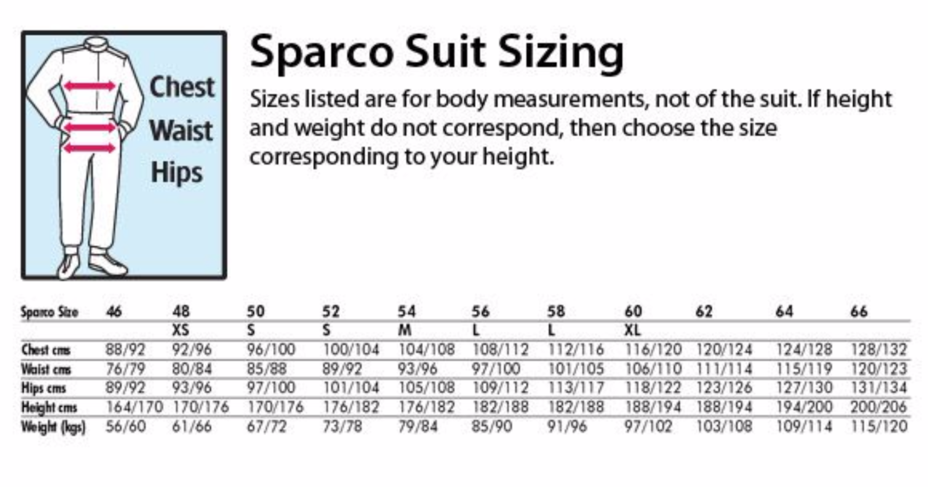 Sparco suit size chart geenschuldenfo Gallery